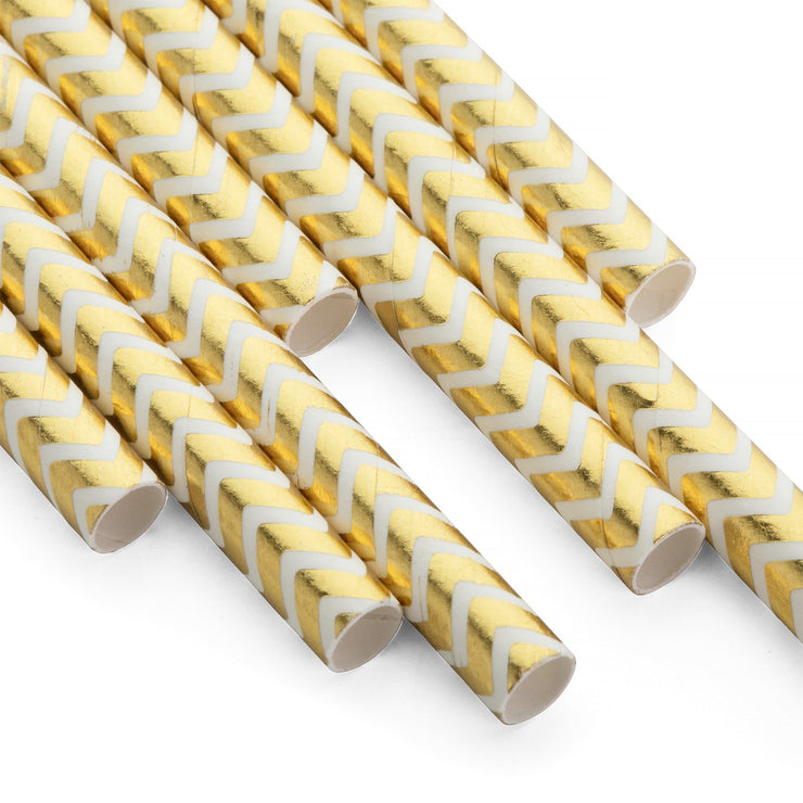 Party Paper Straw - Gold Chevron