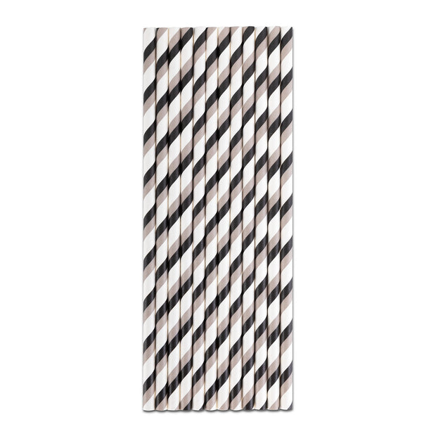 Paper Straw -Black Gray Double Stripe Paper Straws
