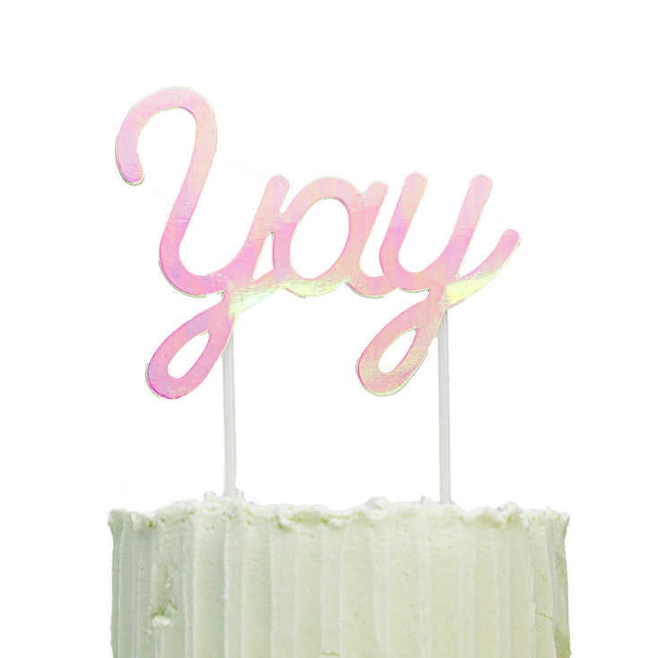cake topper - YAY iridescent cake topper