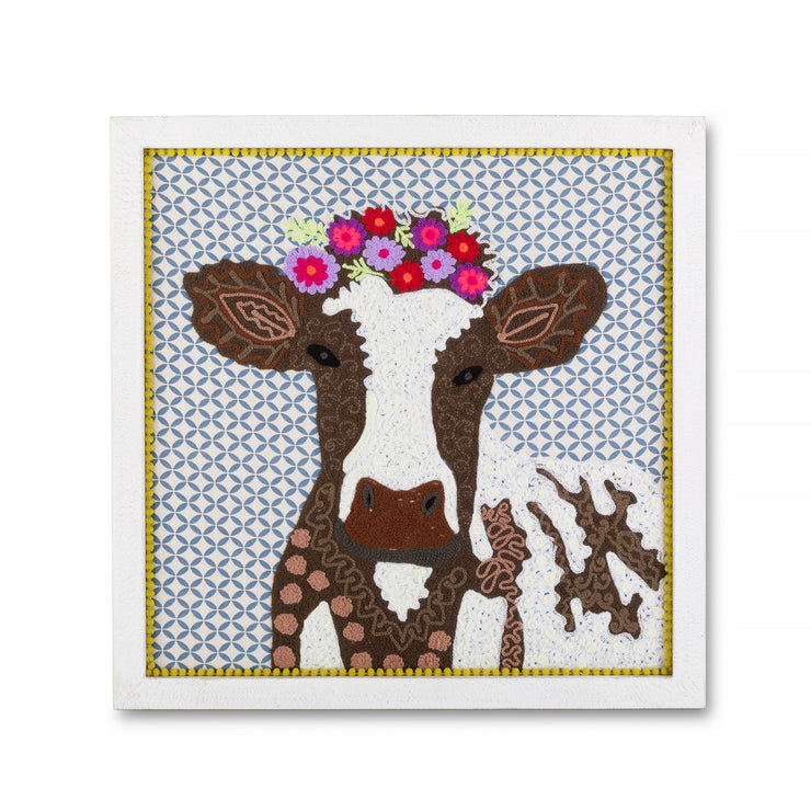 Cow Embroidered Framed Wall Art