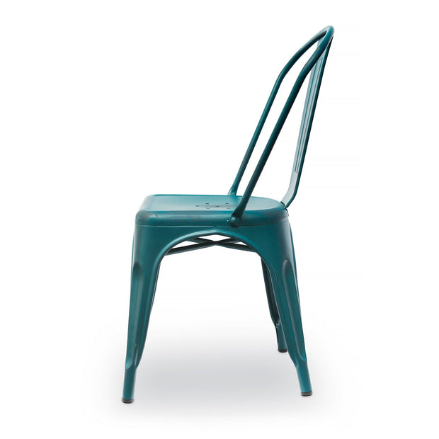 Kids Chair - Side Chair Distressed Metal - Blue Teal