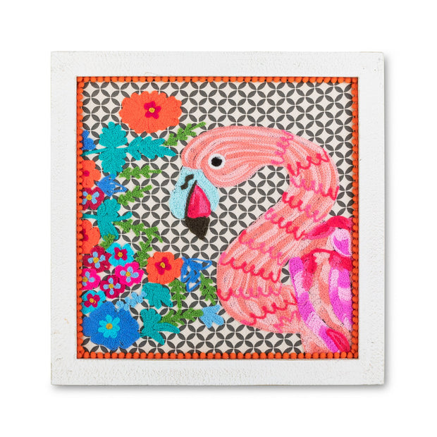 Wall Art - Flamingo Embroidered Framed