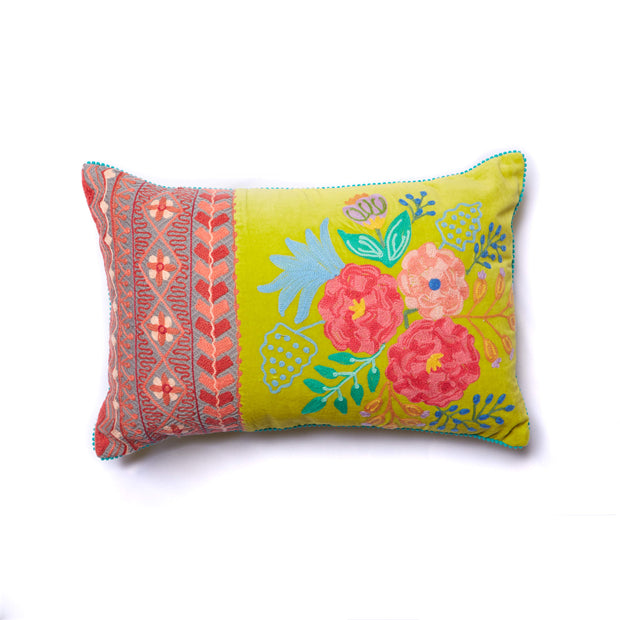 Citrus Garden Embroidered Floral Pillow