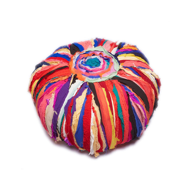 Multi-Color Cotton Pouf Ottoman