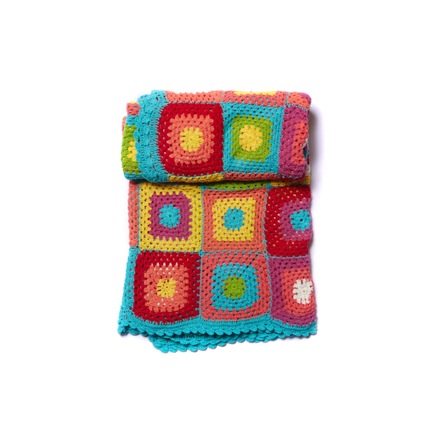 Cotton Crochet Squares Throw Blanket