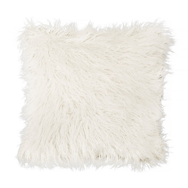 Decorative Throw Pillow - Ivory Faux Fur
