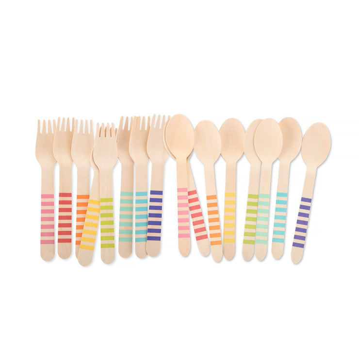 Party Wooden Utensil - Rainbow Color Set