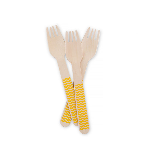 Party Wooden Utensil - Yellow Chevron Fork