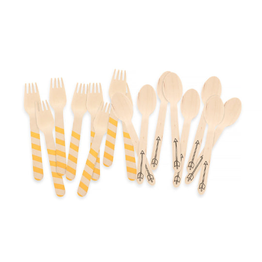 Party Wooden Utensil - Yellow and Arrow Print Set