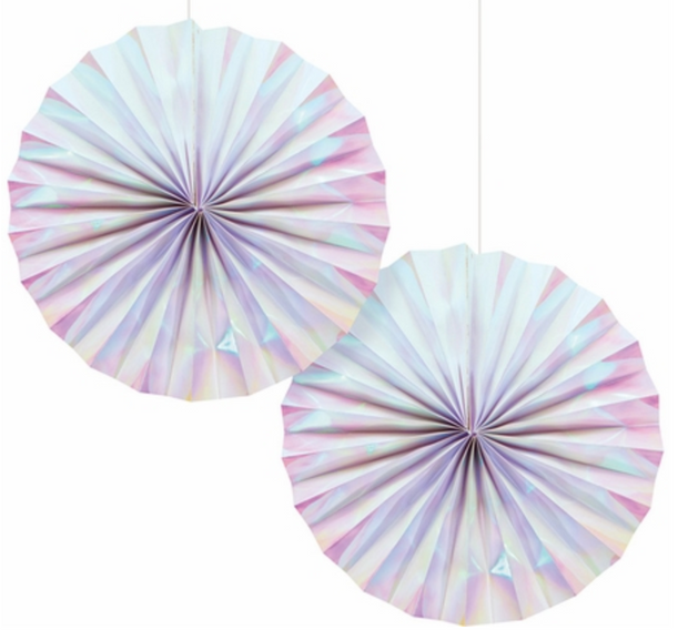 Party Paper Decor - Fan - Iridescent - 2 Pack