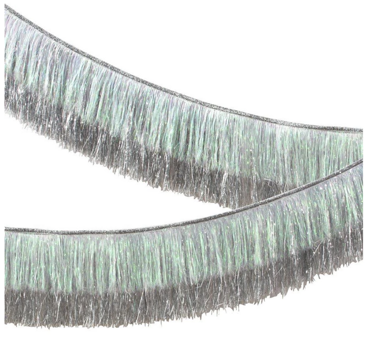 Party Decor - Silver Iridescent Tinsel Fringe Garland