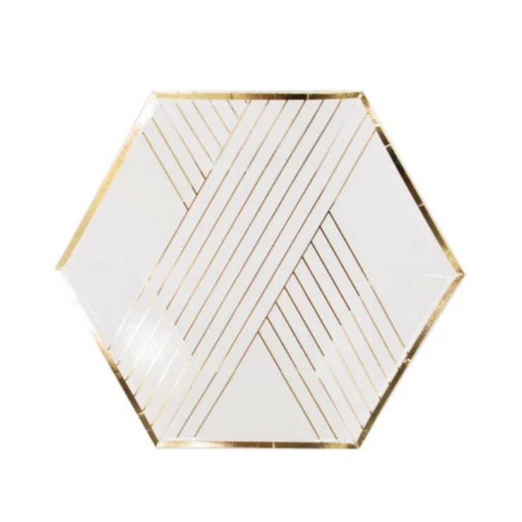 Paper Plate - White Gold Stripe Hexagon Plates - 8""