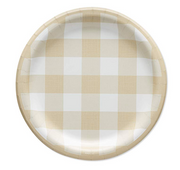 Party Plate - Beige Checkered - 7'' Cake Plate