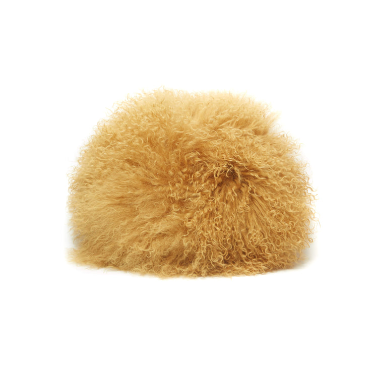 Mustard Round Tibetan Faux Fur Pillow