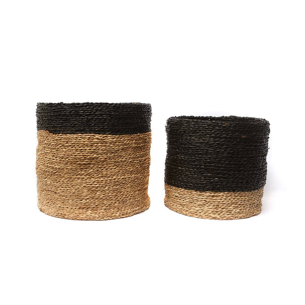 Natural Seagrass Baskets w/ Black Stripe Set of 2