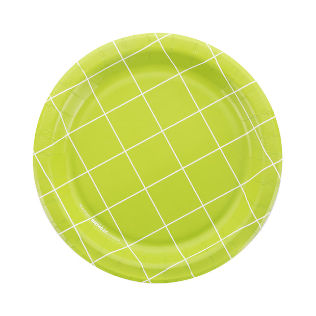 Party Plate - Green Grid - 7''