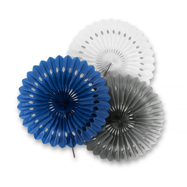 Party Paper Decor - Fan - Blue White Gray - 3 Pack