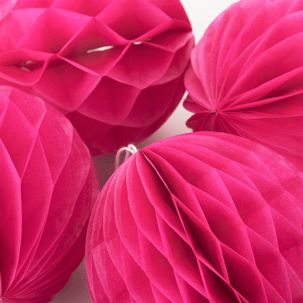"Party Paper Decor - 4"" Honeycomb Lantern - Hot Pink"