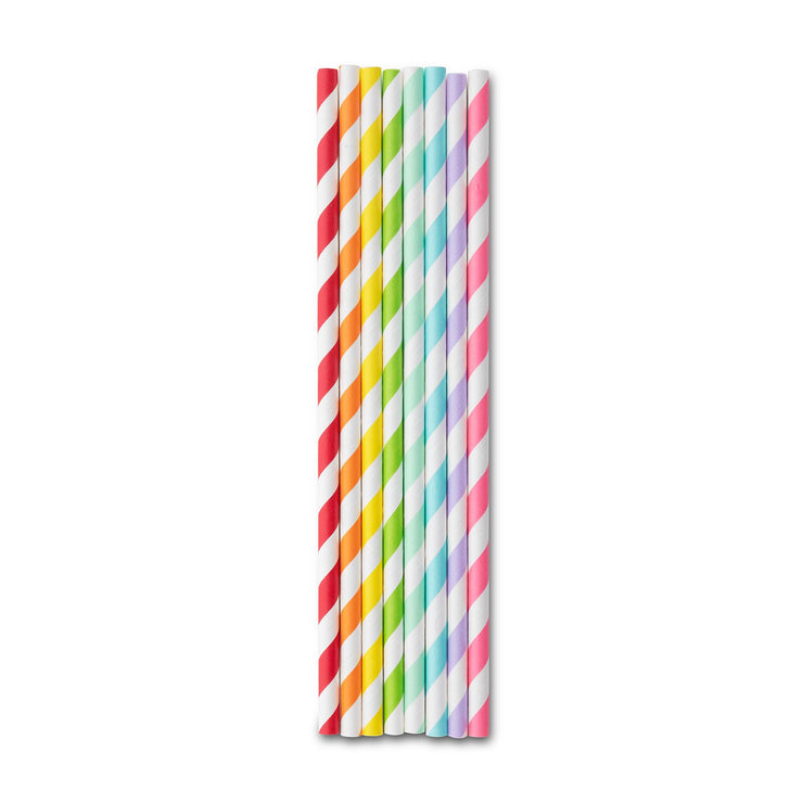 Party Paper Straw - Multi Color Rainbow Stripe