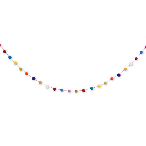 Decorative Garland - Small Felt Ball Rainbow Color