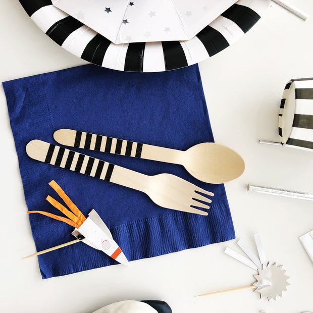 Party Wooden Utensil - Black Stripe Set
