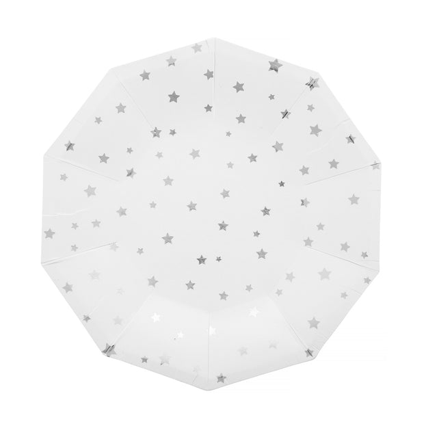 Party Plate - Silver Stars - 7''