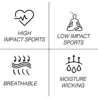 hig impack sports, low inpact sports, breathable moisture wicking