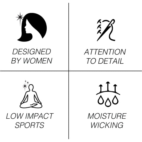 deisgned by women icon , attention to detail for low impact sports miosture wicking
