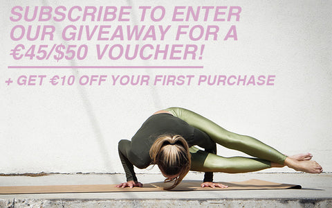 Sign up for our newsletter to win a €45 voucher and get €10 off your first purchase. Woman doing yoga move in matcha green Andromeda Leon Nord Leggings