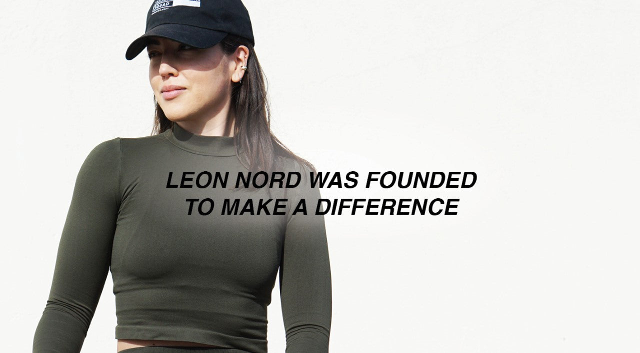 LEON NORD Activewear ethically made in small batches woman stretching in leggings and crop top