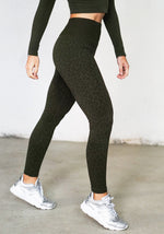 Kahina Leopard Print Leggings -Military Green - Sold Out