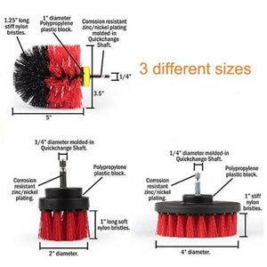 3 Pcs Power Scrub Brush Drill Cleaning Brush For Bathroom Shower Tile Grout Cordless Power Scrubber Drill Attachment Brush Kit
