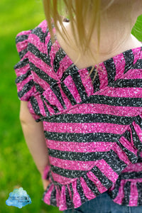 "Permanent Preorder - 1/2"" Glitter Stripes - Black/Dark Pink"