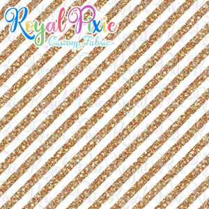 "Permanent Preorder - 1/2"" Glitter Stripes Diagonal - White/Gold"