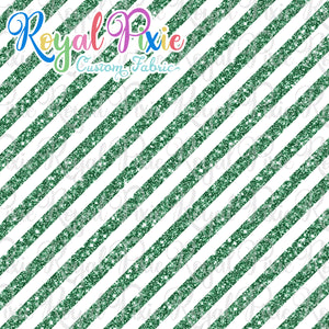 "Permanent Preorder - 1/2"" Glitter Stripes Diagonal - White/Green"