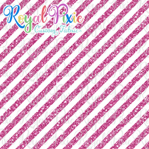 "Permanent Preorder - 1/2"" Glitter Stripes Diagonal - White/Pink"