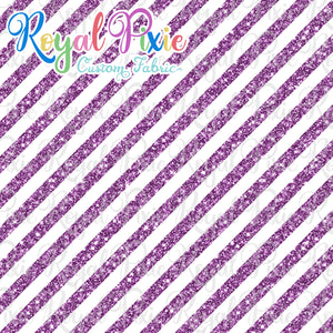 "Permanent Preorder - 1/2"" Glitter Stripes Diagonal - White/Purple"