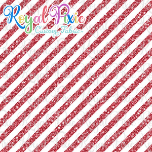 "Permanent Preorder - 1/2"" Glitter Stripes Diagonal - White/Red"