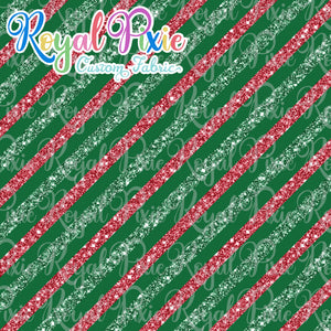"Permanent Preorder - 1/2"" Glitter Stripes Diagonal - Green/Red/Green"