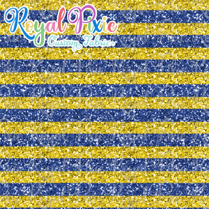 "Permanent Preorder - 1/2"" Glitter Stripes - Blue/Yellow"