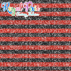 "Permanent Preorder - 1/2"" Glitter Stripes - Black/Red"
