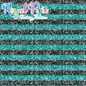 "Permanent Preorder - 1/2"" Glitter Stripes - Black/Aqua"