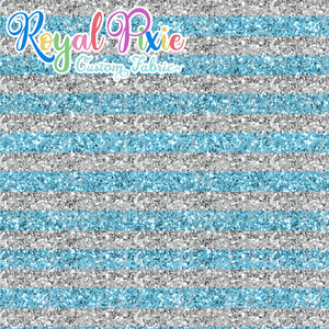 "Permanent Preorder - 1/2"" Glitter Stripes - Silver/Light Blue"