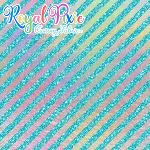 "Permanent Preorder - 1/2"" Glitter Stripes Diagonal - Iridescent/Aqua"