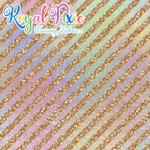 "Permanent Preorder - 1/2"" Glitter Stripes Diagonal - Iridescent/Gold"