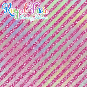 "Permanent Preorder - 1/2"" Glitter Stripes Diagonal - Iridescent/Pink"
