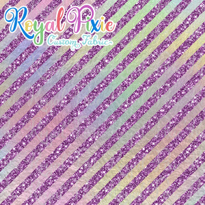 "Permanent Preorder - 1/2"" Glitter Stripes Diagonal - Iridescent/Purple"