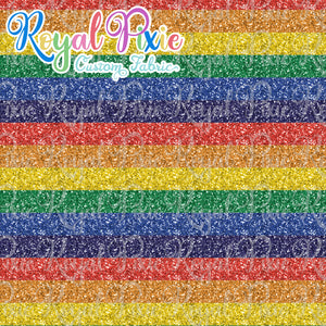 "Permanent Preorder - Glitter Stripes - Thin 1/2"" Stripe Rainbow"