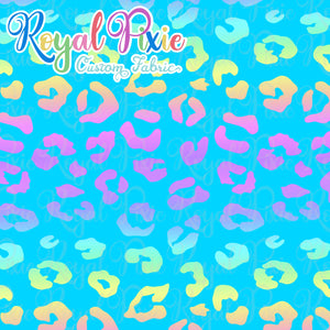 Permanent Preorder - Coords - Animal Prints - Neon Leopard Rainbow Blue