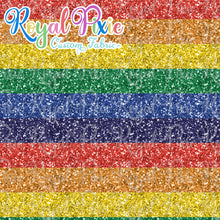 "Load image into Gallery viewer, Permanent Preorder - Glitters - Thick 1"" Stripe Rainbow"